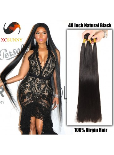 Wholesale- 30 - 40 Inch Super Long 9A Deluxe Straight 100% Brazilian Virgin Hair Weave Remy Human Hair Weft 100g/pcs [BHV401]