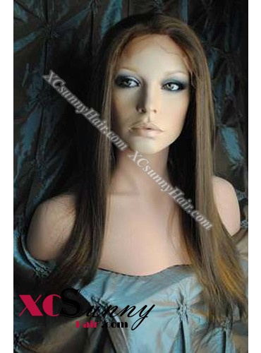 16 Inch Silky Straight #6/27 Glueless Full Lace Wigs 100% Indian Remy Human Hair [GFH292]