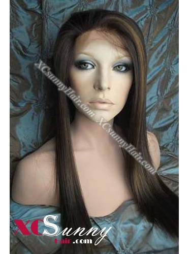 18 Inch Silky Straight #4/27 Glueless Full Lace Wigs 100% Indian Remy Human Hair [GFH293]