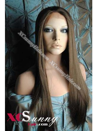 20 Inch Silky Straight #6 Medium Brown Glueless Full Lace Wigs 100% Indian Remy Human Hair [GFH294]