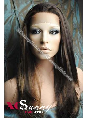 16 Inch Silky Straight #4/27 Lace Front Wigs 100% Indian Remy Human Hair [LFH297]