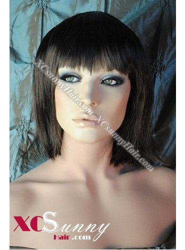 8 Inch Bobo Silky Straight #2/4 Glueless Full Lace Wigs 100% Indian Remy Human Hair [GFH303]