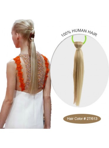 18 Inch #27/613 Silky Straight Linked Ponytail Heat Friendly Synthetic Hair Extensions 70g [LPH008]