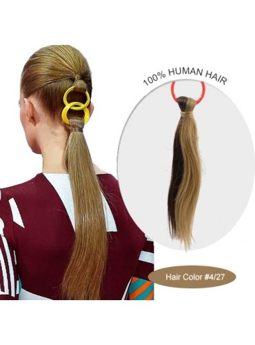 18 Inch #4/27 Silky Straight Linked Ponytail Heat Friendly Synthetic Hair Extensions 70g [LPH007]