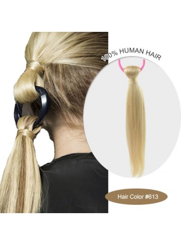 18 Inch #613 Silky Straight Linked Ponytail Heat Friendly Synthetic Hair Extensions 70g [LPH006]
