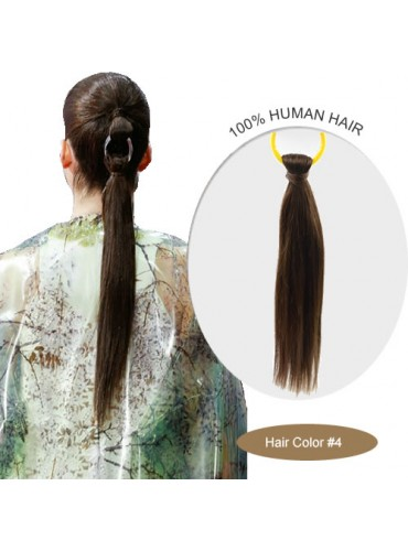 18 Inch #4 Silky Straight Linked Ponytail Heat Friendly Synthetic Hair Extensions 70g [LPH003]
