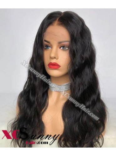 18 Inch Body Wave Natural Black Bob Virgin Brazilian 13X6 Glueless Lace Front Human Hair Wigs 150% Density Pre Plucked Natural Hairline With Baby Hair [BVG014]