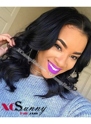 14 Inch Natural Wave Natural Black Bob Virgin Brazilian 13X6 Glueless Lace Front Human Hair Wigs 150% Density Pre Plucked Natural Hairline With Baby Hair [BVG021]