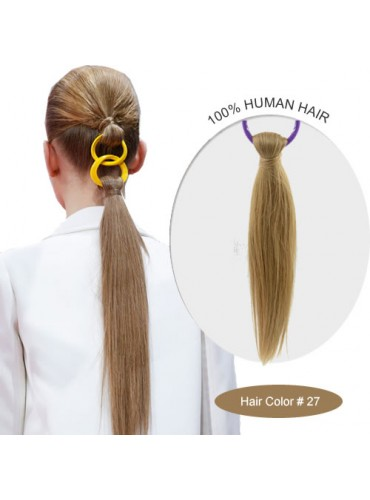 18 Inch #27 Silky Straight Linked Ponytail Heat Friendly Synthetic Hair Extensions 70g [LPH005]
