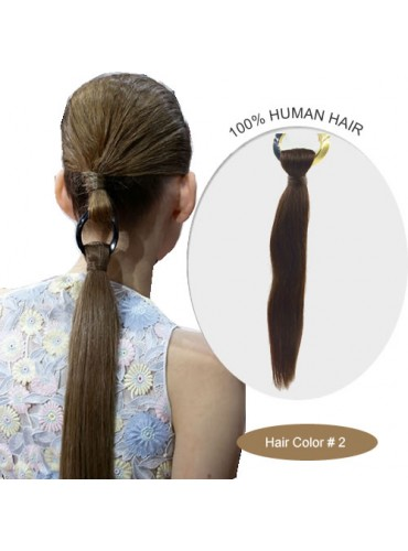 18 Inch #2 Silky Straight Linked Ponytail Heat Friendly Synthetic Hair Extensions 70g [LPH002]