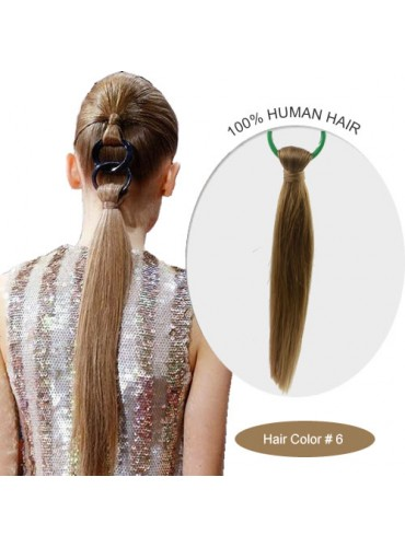 18 Inch #6 Silky Straight Linked Ponytail Heat Friendly Synthetic Hair Extensions 70g [LPH004]