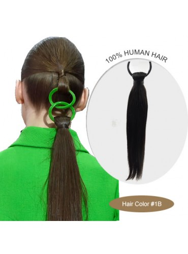 18 Inch #1B Silky Straight Linked Ponytail Heat Friendly Synthetic Hair Extensions 70g [LPH001]