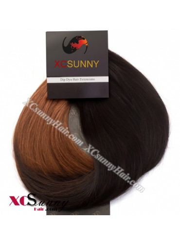 Wholesale-15 Inch -24 Inch #T2/30 Dip Dye Hair 9pcs Full Head Set Clip In Human Hair Extension [DDH011]