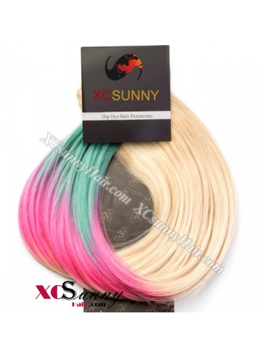 Wholesale-15 Inch -24 Inch #T613/Pink/Light Green Dip Dye Hair 9pcs Full Head Set Clip In Human Hair Extension [DDH012]