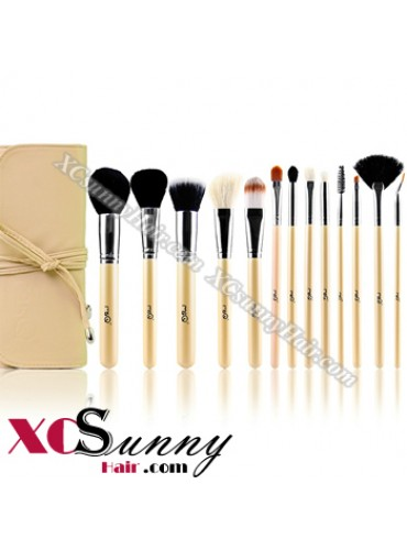 13PCS PROFESSIONAL BEIGE NATURAL HAIR MAKEUP BRUSH SET [MKS006]