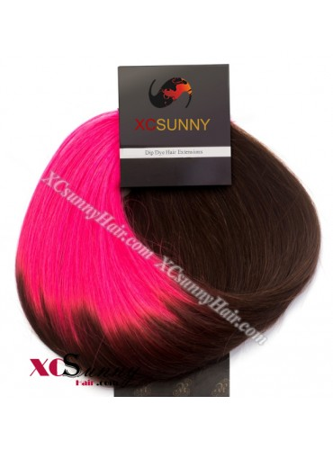 Wholesale-15 Inch -24 Inch #T2/Fuchsia Dip Dye Hair 9pcs Full Head Set Clip In Human Hair Extension [DDH007]