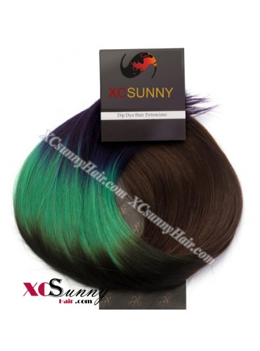 Wholesale-15 Inch -24 Inch #T4/Green/Purple Dip Dye Hair 9pcs Full Head Set Clip In Human Hair Extension [DDH008]