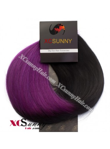 Wholesale-15 Inch -24 Inch #T1B/Violet Dip Dye Hair 9pcs Full Head Set Clip In Human Hair Extension [DDH009]