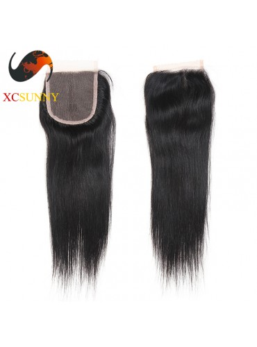 Brazilian 5A Straight Lace Closure Silk Base 8-20 inch 100%  Virgin Remy Human Hair Wholesale 100g/pcs [BHV068]