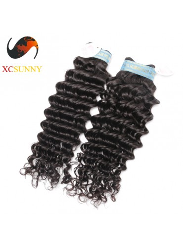 Wholesale Mix Length 2pcs-12-26 Inch 5A Deluxe Deep Wave 100% Peruvian Virgin Hair Weave Remy Human Hair Weft 100g/pcs [PHV045]