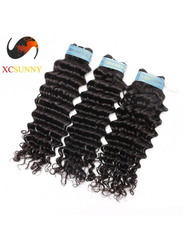 Wholesale Mix Length 3pcs-12-26 Inch 5A Deluxe Deep Wave 100% Peruvian Virgin Hair Weave Remy Human Hair Weft 100g/pcs [PHV049]