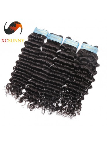 Wholesale Mix Length 4pcs-12-26 Inch 5A Deluxe Deep Wave 100% Peruvian Virgin Hair Weave Remy Human Hair Weft 100g/pcs [PHV053]