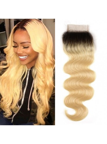 XCsunnyHair Body Wave Hair T1B/613 Blonde Ombre Human Hair Free Part 4*4 Lace Closures [LCT4011]