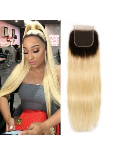 XCsunnyHair Straight Hair T1B/613 Blonde Ombre Human Hair Free Part 4*4 Lace Closures [LCT4010]
