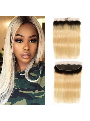 XCsunnyHair Virgin Hair Ombre Color T1B/613 13x4 Lace Frontal Closure Straight Human Hair [LFC017]
