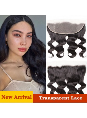 XCsunnyHair Virgin Human Hair Body Wave Lace Frontal 13x4 Inch Transparent Frontal Closure [LFC007]