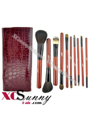 10PCS BURGUNDY RED SABLE HAIR MAKEUP BRUSH SET [MKS003]