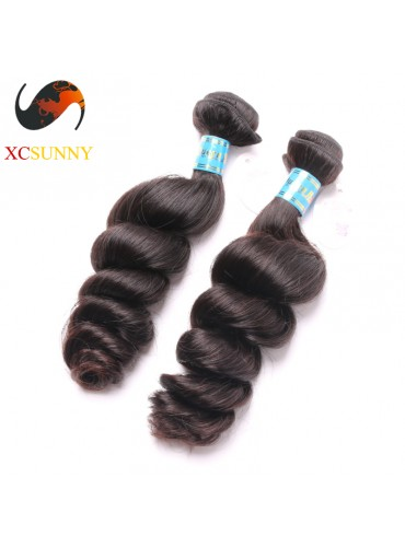 Wholesale Mix Length 2pcs-12-26 Inch 5A Deluxe Loose Wave 100% Peruvian Virgin Hair Weave Remy Human Hair Weft 100g/pcs [PHV044]