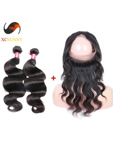 Pre Plucked 360 Lace Frontal Closure with 2 Bundle Brazilian Virgin Hair Weave Body Wave 22x4x2 with Baby Hair [LFC034]