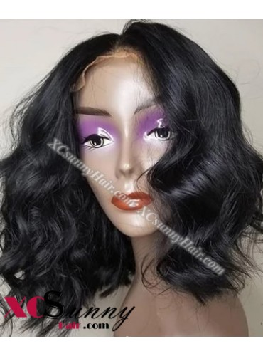 14 Inch Short Wave Natural Black Bob Virgin Brazilian 13X6 Glueless Lace Front Human Hair Wigs 150% Density Pre Plucked Natural Hairline With Baby Hair [BVG008]
