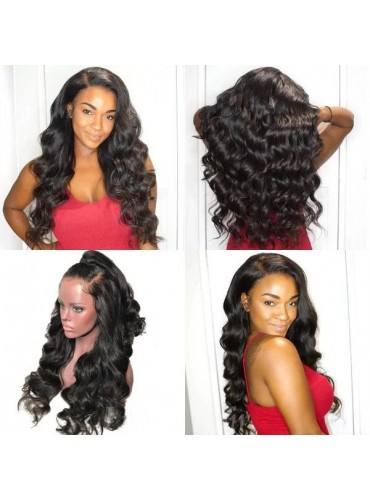 20 Inch Pre Plucked Body Wave 360 Lace Frontal Wig Brazilian Virgin Hair Wigs For Black Women, 4 Inch Swiss Lace Front Wig Wholesale - [LFW008]