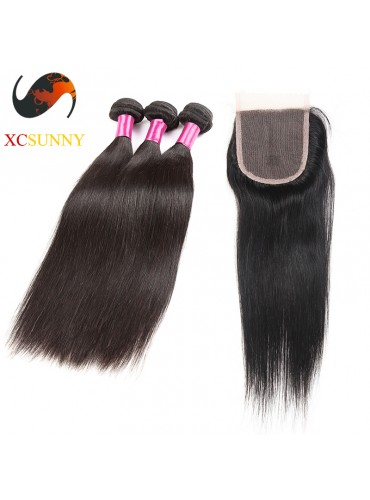 Peruvian 5A - 1PC Closure with 2PC Hair Weave 100%  Virgin Remy Human Hair Wholesale 100g/pcs [PHV062]