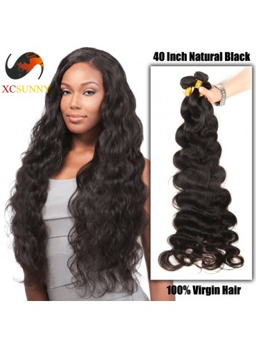 Wholesale- 30 - 40 Inch Super Long 9A Deluxe Body Wave 100% Brazilian Virgin Hair Weave Remy Human Hair Weft 100g/pcs [BHV402]