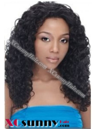 16 inch Deep Wave #1B Lace Front Wigs 100% Indian Remy Human Hair [LFH241]