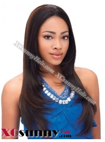 18 inch Silky Straight  #1B Lace Front Wigs 100% Indian Remy Human Hair [LFH227]