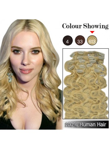 Wholesale-24 Inches 9pcs 120g Clips-on 100% Brazilian Human Hair Extensions Wavy #613_Lightest Blonde (18 kinds of colors can be choose) [CHE048]