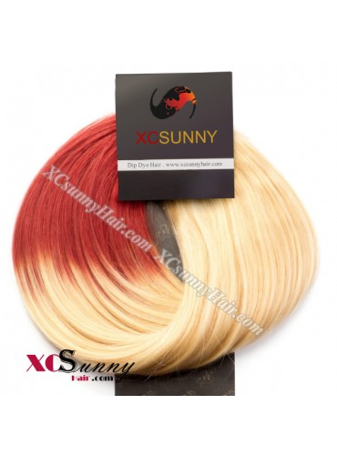 Wholesale-15 Inch -24 Inch #T613/Red Dip Dye Hair 9pcs Full Head Set Clip In Human Hair Extension [DDH002]