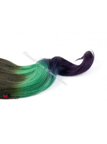 Wholesale-12-26 Inch #4/Green/Purple Ombre Dip Dye 100% Brazilian Remy Human Hair Weave Weft 100g/pcs [DDW008]