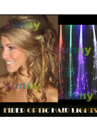 14 inch Clip in Jewel Fiber Optic LED Hair Barrettes Light Up Extension 50 pcs/lot OLE001