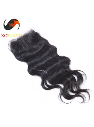 Peruvian 5A Body Wave Lace Closure Silk Base 8-20 inch 100% Virgin Remy Human Hair Wholesale 100g/pcs [PLC002]