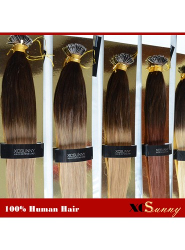 Wholesale-18 Inch - 22 Inch Ombre Dip Dye Straight Nano Ring Hair Extensions 100% Indian Remy Human Hair Extension 100g/pack, 1g/s [NRE010]