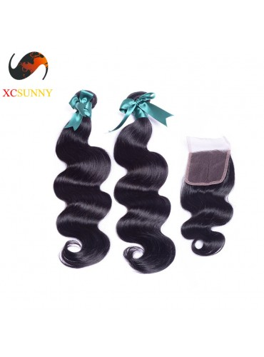 Brazilian 8A 1PC Closure with 2PC Hair Weave 100%  Virgin Remy Human Hair  Wholesale 100g/pcs [BHV072]