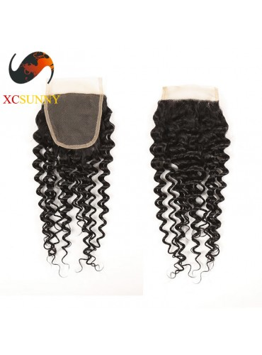 Brazilian 5A Deep Wave Lace Closure Silk Base 8-20 inch  100% Virgin Remy Human Hair  Wholesale 100g/pcs [BHV070]
