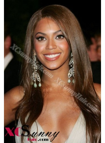 18 Inch #4 Full Lace Wigs Beyonce Long Hairstyle 100% Indian Remy Human Hair Custom [CFL006]