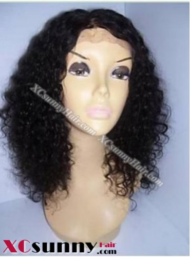 16 Inch Curly  #1B Glueless Lace Front Wigs 100% Indian Remy Human Hair [GLH057]