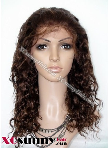 16 Inch Curly  #4 Glueless Lace Front Wigs 100% Indian Remy Human Hair [GLH061]